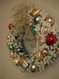 vintage mercury glass ornament and bottle brush wreath  Love this