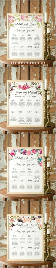 Floral Wedding Table Plan - calligraphy printing and colorful flowers, simple and elegant wooden frame #boho #rustic #floral #flowers #tableplan #weddingideas #weddingplanning