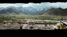 Kundun - 3D matte painting of Sho village and mountains