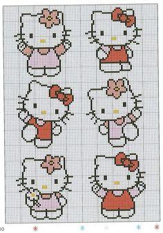 クロスステッチパターン(K猫6ポーズ)