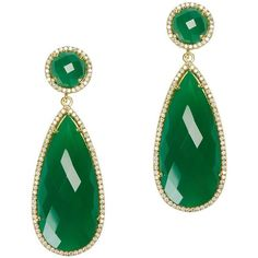 Susan Hanover Emerald Drop Earrings (13.080 RUB) ❤ liked on Polyvore featuring jewelry, earrings, emerald jewellery, long post earrings, post drop earrings, susan hanover jewelry and gold tone earrings