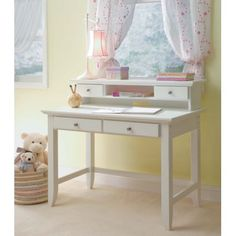 "5530-162 Home Styles Student Desk & Hutch  42"" w x 24"" d x 30"" h  desk  42"" w x 10"" d x 8"" h    hutch  in WHITE    with blue or painted knobs?"