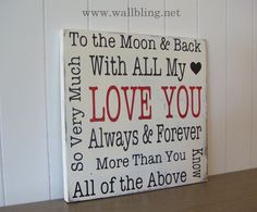 LOVE YOU Typography Word Art Sign  Ready to SHIP by WallBling, $40.00
