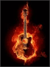 Animated gif clip art image of burning guitar on fire and flames moving picture