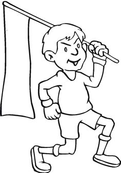 boy with memorial day poster coloring page