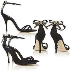 Zip Bow Back Strappy Sandals in Black