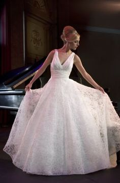 Alita Graham - V-Neck Ball Gown in Silk Taffeta