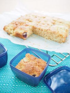 Apple, Blueberry and Yoghurt Cake Slice Cup Self Raising Flour Cup Wholemeal Self Raising Flour Cup Dessicated Coconut Cup Raw Sugar Cup Greek Yoghurt 1 Egg Olive Oil 1 Large Apple, diced Cup Blueberries Lunch Box Recipes, Snack Recipes, Lunchbox Ideas, Cake Recipes, School Cake, Blueberry Cake, Healthy Cake, Baking Recipes, Sweet Recipes
