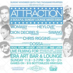 ATTRACTION | Day Party | Mixer Event | Sunday 11.9.14 OAKLAND, CA
