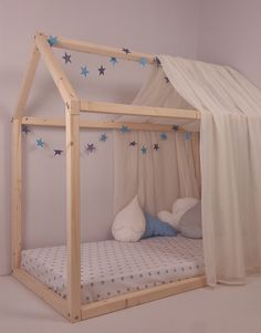 This listing includes one Montessori pinewood floor bed house. This bed can be made in any color you choose (the color we use is Certified by the Nordic Swan Eco label and is Suitable for children toys) or you can leave it wooden without coloring - the surface is treated with environmentally and child friendly linseed oil instead of varnish. You can choose any dimensions as well. The idea behind Montessori floor bed is in line with the general principles of the Montessori method: a child…