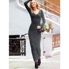 Victoria's Secret V-Neck Maxi Sweaterdress ($70) via Polyvore