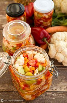 SALATA DE MURATURI | Diva in bucatarie Romanian Food, Fall Recipes, Fruit Salad, Shrimp, Meat, Winter, Places, Preserves, Salads