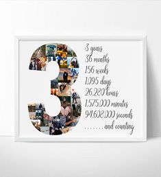 Three Year Anniversary Gift, Anniversary Gift Ideas For Him Boyfriend, Birthday Gifts For Boyfriend Diy, Cute Boyfriend Gifts, Third Anniversary, Anniversary Photos, One Year Gift, Wedding Anniversary, Photo Collage Gift