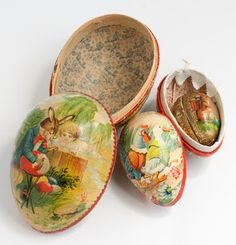 three paper mache eggs from western germany