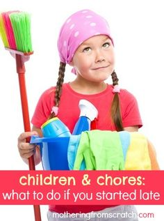 Are your kids not doing chores yet? It's not too late! This post gives practical tips for teaching kids chores, even if you didn't start giving responsibility early. Chores For Kids, Activities For Kids, Children Chores, Parenting Advice, Kids And Parenting, Life Skills Kids, Helping Cleaning, Cleaning Tips, Practical Life