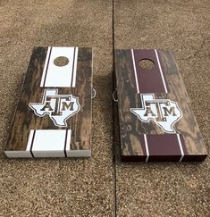 Texas A&M stained and hand painted cornhole boards by Major & Co. Wood Designs