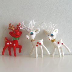 3 Vintage Flocked Reindeer Deer Christmas Ornament Decorations. $9.00, via Etsy.
