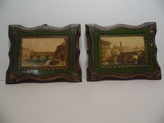 Vintage Florentine Toleware Pr Small Wood Olive Gold Scallop Plaque Prints Italy #Baroque