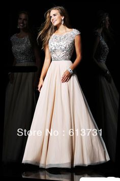 Wholesale Newest Cap Sleeves Round Neckline Prom Dresses 2013 With Beads and Sequins Long A Line $199.00