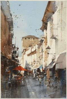 【Aosta / 義大利的奧斯塔】26 x 18 cm watercolor Demo today by Chien Chung Wei .
