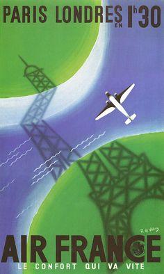 Anciennes affiches d'Air France - La boite verte