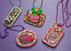 Resin and Polymer Clay Cutie Necklaces by *squeekaboo on deviantART