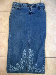 Show Tell Share: Men's Jeans To Skirt With Bleach Pen Art - STASH