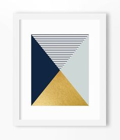Geometric print abstract art print navy and gold print gold