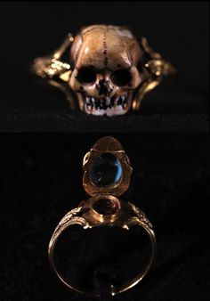 Mourning ring, made in Europe in the 18th century, for the purpose of catching tears.