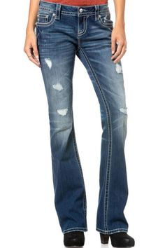 "Relaxed boot cut jeans. Machine Wash Separately In Cold Water, Front Rise: 8"" ; Back Rise: 13 ¼"", Inseam: 34""   Relaxed Boot Cut  by Miss Me. Clothing - Bottoms - Jeans & Denim - Straight Tennessee"