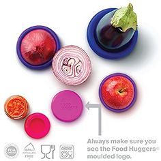 Amazon.com - Food Huggers Reusable Silicone Food Savers Set of Five (Bright Berry) -