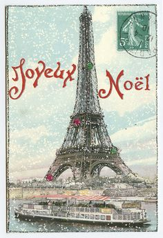 Find the Best French Christmas Cards Online. Joyeux Noel cards with Paris Eiffel Tower print and elegant envelope. Christmas In Paris, French Christmas, Noel Christmas, Little Christmas, All Things Christmas, Vintage Christmas, Christmas Cards, Xmas, Noel French