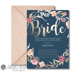 Bridal Shower Invitation, Golden Bride, Faux Foiling, Navy Blue, Floral design, Floral, DIY, Printable