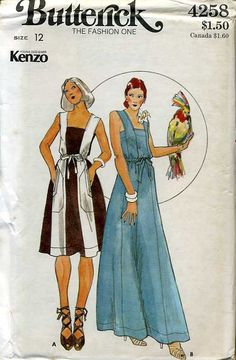 Vintage pattern Butterick 4258, (late 1970s), young Designer Kenzo dress in two lengths