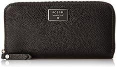 Fossil Dawson Zip Wallet, Black, One Size