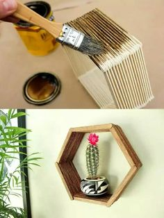 Check out this beautiful popsicle stick hexagon shelf DIY. Check the board for more DIY crafts for your home. Craft Stick Crafts, Decor Crafts, Diy Room Decor, Home Crafts, Fun Crafts, Diy And Crafts, Wood Sticks Crafts, Diy Crafts For Bedroom, Wall Decor