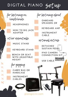 How to set up your digital piano or keyboard for practising at home, and also for playing a gig. Read more by clicking the image! Piano Keys, Piano Music, Music Stand, Digital Piano, Teaching Kids, Keyboard, Learning Piano, Image, Tips