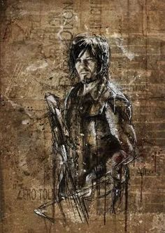 twd daryl dixon the walking dead illustration cool colors Movies & TV