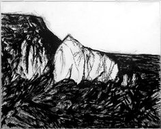 "#20160611 Shiprock charcoal on Osnaberg Cloth 32"" x 40"" by John Warren Oakes"