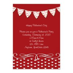 Red and White Heart Valentine Party Invitation