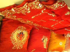 Gota patti embroidered stoles and cushion.....an art form famous of Jaipur.