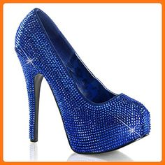 bb9ace4bf803 Teeze-06R - Original Bordello Burlesque Plateau Pumps mit Strass-Besatz in  Royal Blau