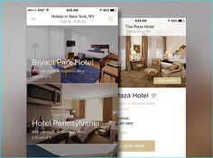 20 Example of Hotel App UI Design for Inspiration Bryant Park Hotel, Hotel App, Hotel Finder, Hotel Pennsylvania, App Ui Design, Plaza Hotel, View Photos, Wall Design, Ui Inspiration