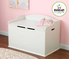 Aufbewahrung im Kinderzimmer mit Charme und Stil! Grosse Spielzeugtruhe und Sitzbank in Creme, von Kidkraft