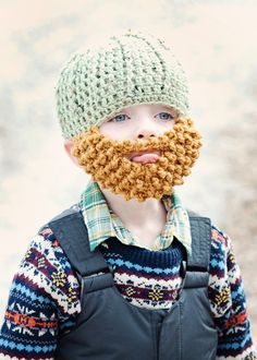 Crochet Beard Hat. cutest thing ive ever seen in my life. hahaha