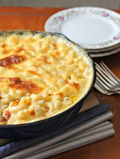 Creamy baked macaroni and cheese from scratch.