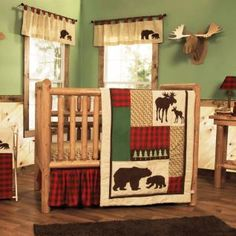 Give your nursery a cozy cabin feel. Printed and appliquéd bear and moose silhouettes are featured alongside embroidered pine trees, printed wood grain, and classic buffalo check. Deep red and chocolate brown are mixed with oak, flax and clover green.