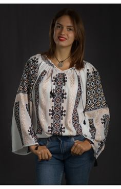 S & M sizes embroidered peasant top Romanian blouse brodee roumaine folk costume of Romania vyshyvanka dress hippie blouses bohemian boho ie Peasant Blouse, Blouse Dress, Peasant Tops, Folk Embroidery, Embroidery Ideas, Bohemian Blouses, Bohemian Look, Hippie Dresses, Folk Costume