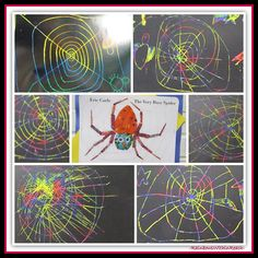 photo of: The Very Busy Spider Kindergarten Art Response (Eric Carle RoundUP at RainbowsWithinReach)