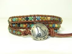 Multicolor Picasso Beaded Leather Wrap Bracelet by jlktreasures